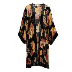 velvet gold black kimono